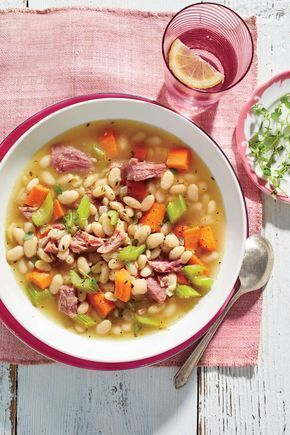 Ham-and-Bean Soup Recipe   Got a ham bone on leftover from the holidays? Lucky you. Put it to good use in this comforting slow-cooker soup. Made with a ham bone, dried white beans, chopped carrots, celery, onions, and