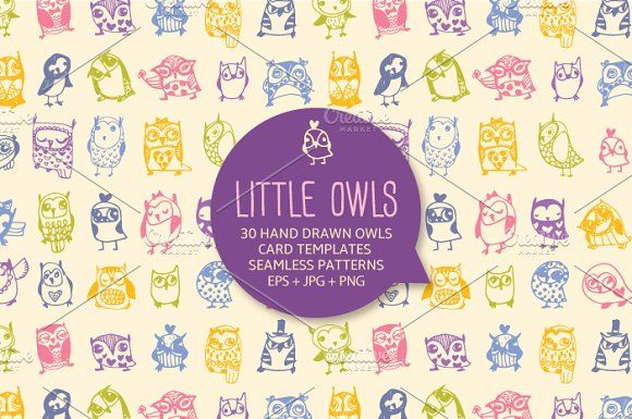 30 cute hand drawn owls by kite-kit on @creativemarket