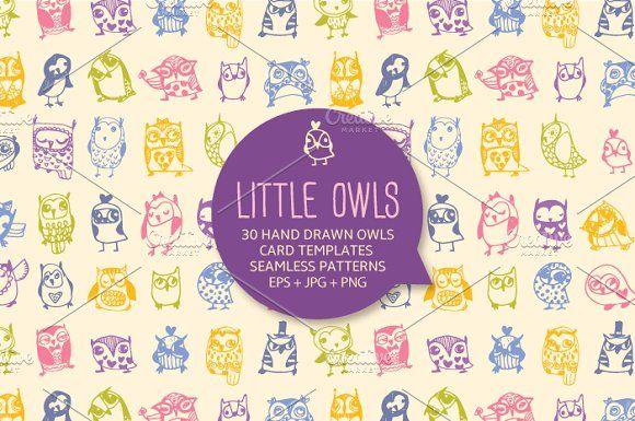 30 cute hand drawn owls by kite-kit on @creativemarket