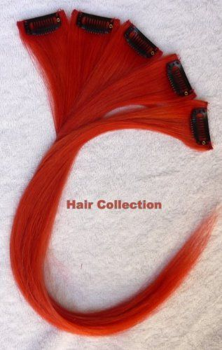"Hair Collection-12"" Red 100% Human Hair Clip in on Extensions - 1.6""widex5pcs by Hair Collection. $22.99"