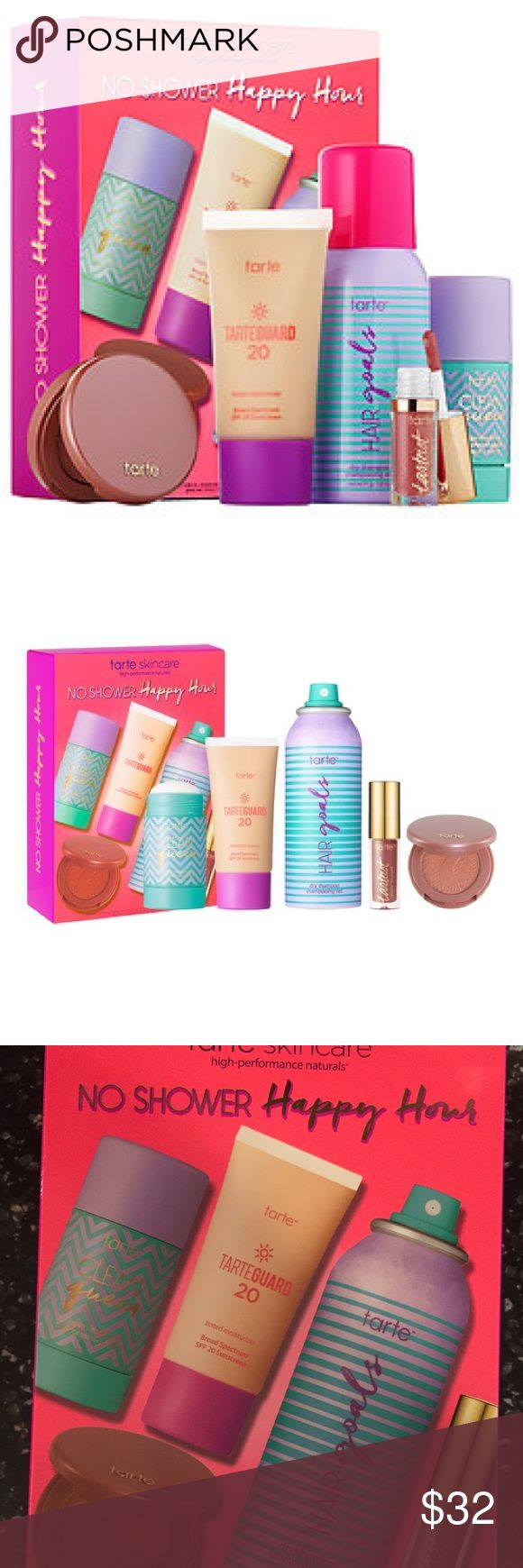 Tarte No Shower Happy Hour Boxed Set Travel set includes: * travel size clean queen vegan deodorant * travel size hair goals dry shampoo * travel size tarteguard 20 tinted moisturizer in medium * deluxe tarteist™ glossy lip paint in goals (rosy nude) * deluxe Amazonian clay 12-hour blush in insightful (peachy pink) New in Box tarte Makeup Eyeshadow
