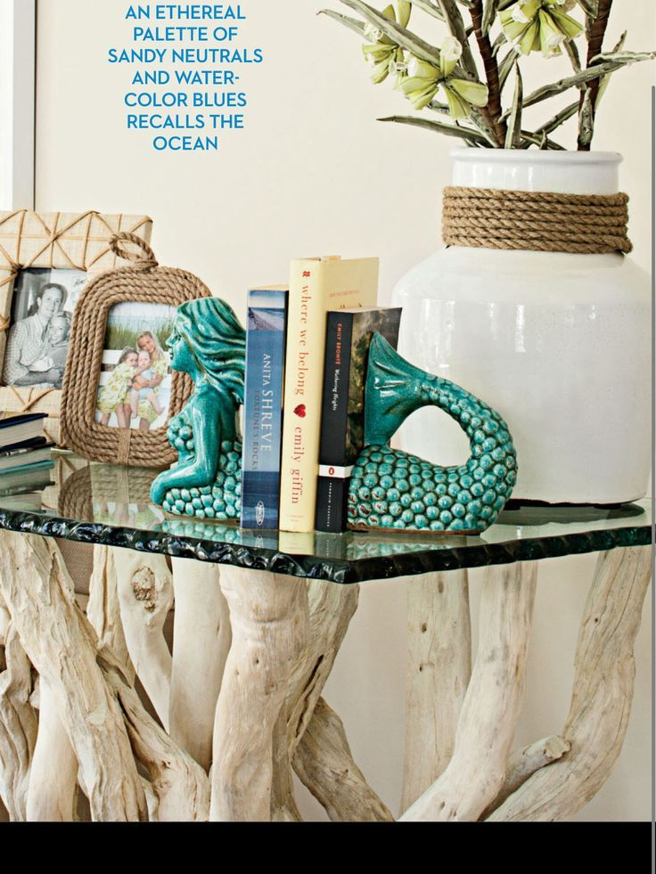 Driftwood table & mermaid bookends