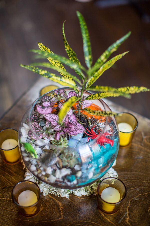 eclectic terrarium centerpiece // photo by Betsi Ewing // http://ruffledblog.com/modern-diy-brooklyn-wedding