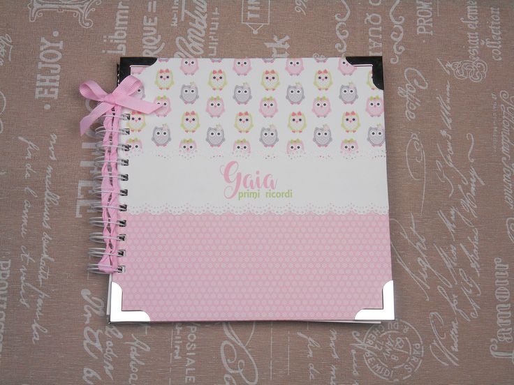 Mini-album nascita per bimba, rosa a tema gufi con spirale. Fatto a mano, grafica e colori personalizzabili. di ChiaraPaperLab su Etsy