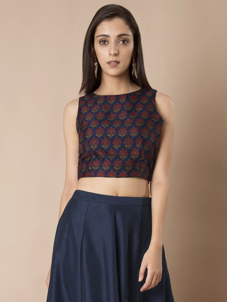 Pin By Chandru On Architecture: Buy SASSAFRAS Women Grey Silk Floral Print Crop Fitted Top