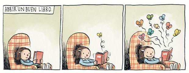Abrir un buen libro.   Liniers - Macanudo