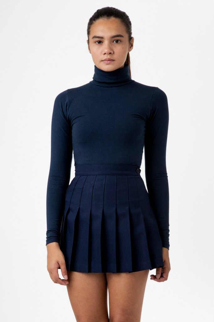 8306 Cotton Spandex Turtleneck In 2020 Tennis Skirt Outfit Monochromatic Fashion Layering Outfits