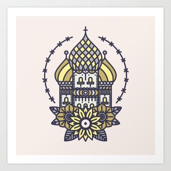 Russian church tattoo Art Print
