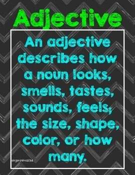 "~Just a quick reminder for your students when they wonder ""What IS an adjective?""  This resource works great as a 16x20 poster."