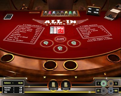 All In Poker is a casino poker variant which is loosely based on five-card stud poker. All In Poker is based on basic poker rules and is played with three player cards and two community cards. All In Poker is smooth to play and therefore a nice alternative to fast-paced games like Blackjack. Register and play on http://casino-goldenglory.com/