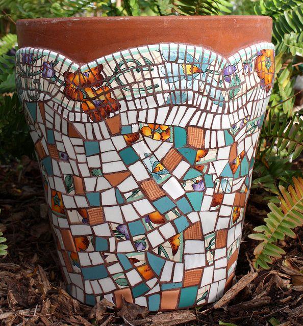 448 best images about mosaic pots vases on pinterest for Mosaic landscape design