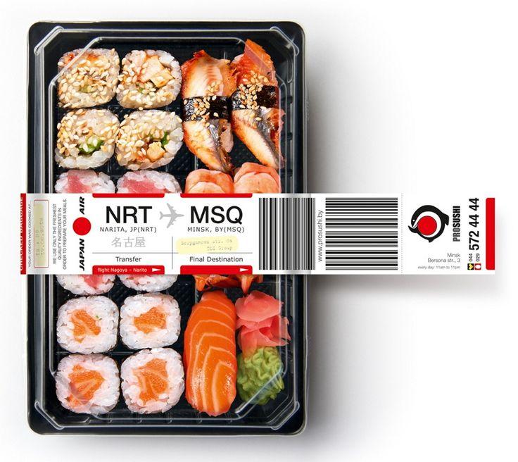 """스시 도시락~ 일본에서 배달됩니다^^    유럽 벨라루스의 초밥전문점 """"Prosushi"""" 에서 진행한 기발한 마케팅 입니다.     도시락 윗부분에 공항 수화물 스티커를 부착함으로써 일본에서 직접 배달되는 듯한 모습을 연출했습니다.    맛과 신선도가 스시의 본고장인 일본과 다름없다는 점을 부각시킨 아이디어가 돋보이네요~"""