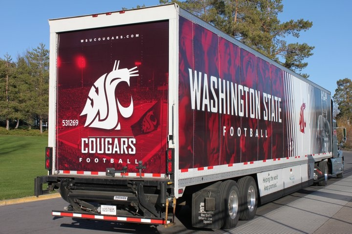 WSU Football equipment truck.