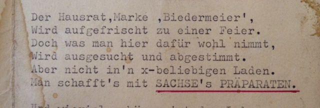 ..., hier das neueste und doch schon ein sehr alter Werbetext aus der Manufaktur für Holz und Möbelpflege seit 1901 in Berlin, in bester Qualität.