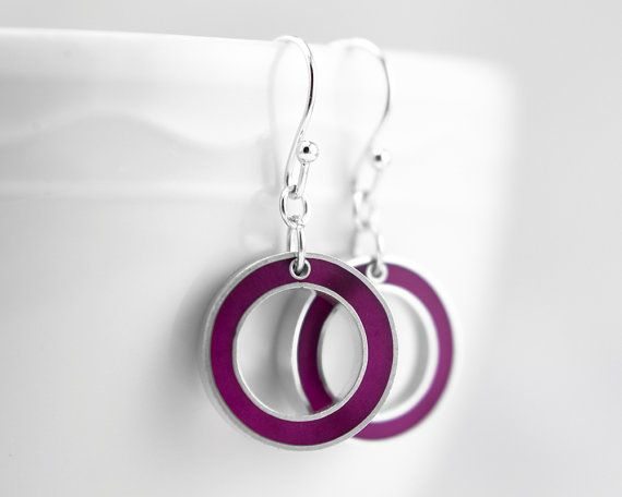 It's Okay Earrings  magenta resin and sterling by LollyJoLolli, $44.00