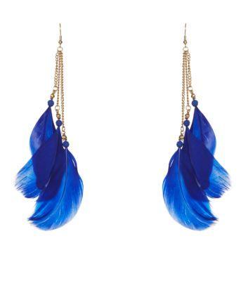 Blue Triple Feather Earrings