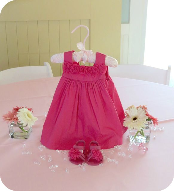 Baby Shower Centerpiece a different outfit for each table cute!