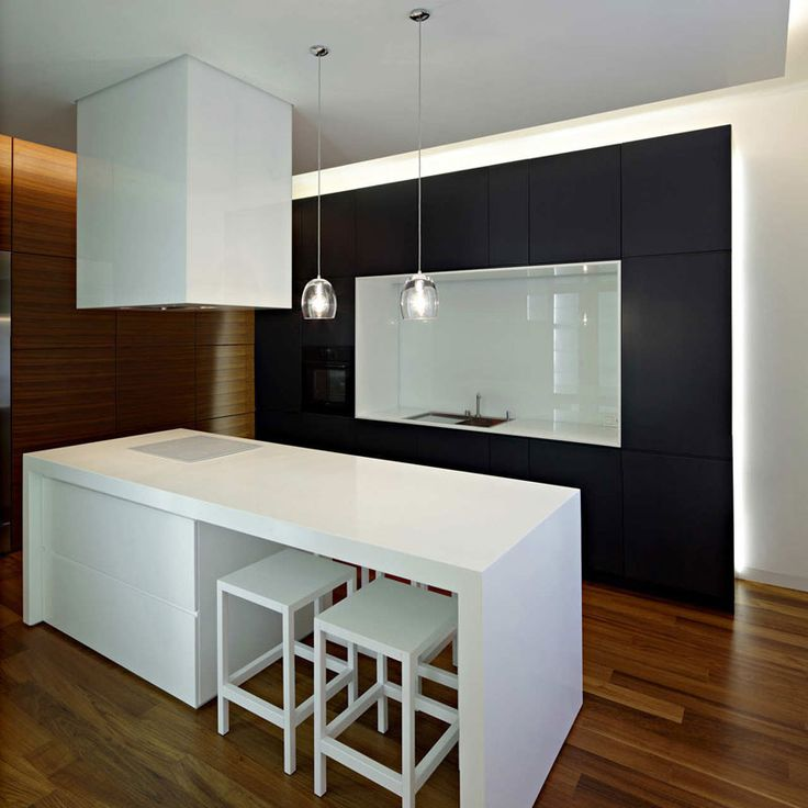 Modern Minimalist KItchen With Bar And Wooden Floor From Downtown Apartment In Zagreb By Dva Arhitekta