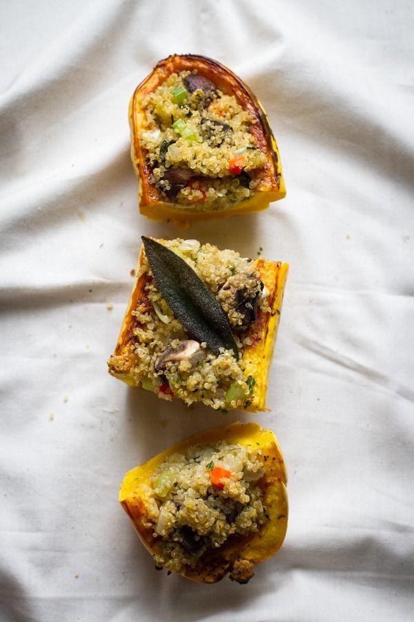stuffed delicata squash with quinoa stuffing | edible perspective [v/gf]