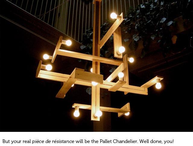 upcycling  chandelier en palette