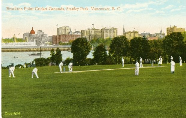 Historic photo of cricket being played at Brockton Point. A postcard from Peggy Imredy's Stanley Park collection at the Museum of Vancouver.