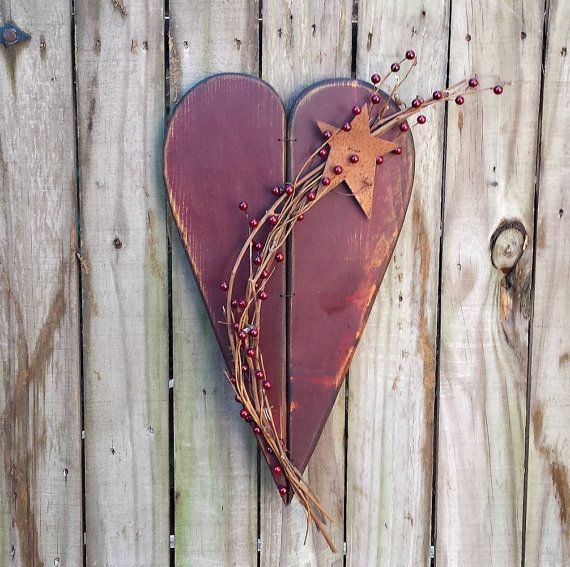Large Primitive Heart with Grapevine by GypsyWindPrimitives