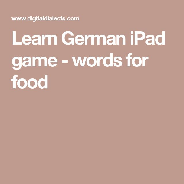 Learn German iPad game - words for food