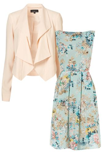 Dorothy Perkins Blue Floral Prom Dress, $69, available at Dorothy Perkins. Topshop Tall Folded Lapel Jacket, $110, available at Topshop.