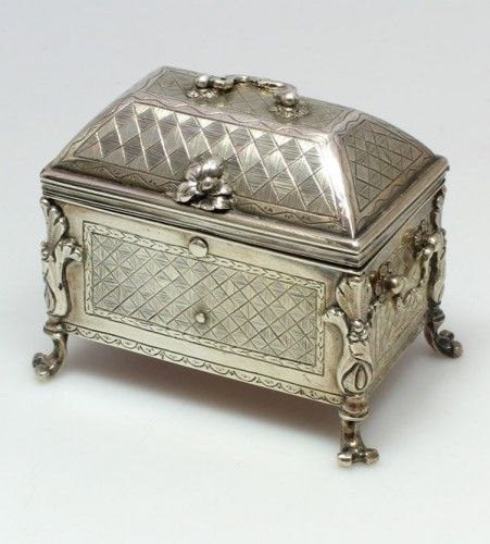 Early 18th century silver casket. Unmarked, probably Spanish or Spanish Colonial. Circa 1740