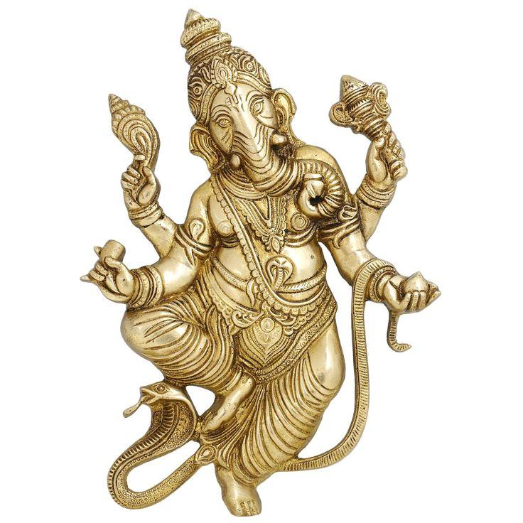 Brass Statue Ganesha Wall Hanging Hindu Home Decor 10 Inches Religious – ShalinIndia