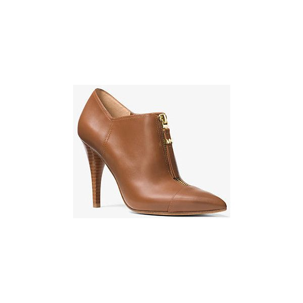 MICHAEL Michael Kors MICHAEL Michael Kors Andi Leather Bootie ($124) ❤ liked on Polyvore featuring shoes, boots, ankle booties, brown, leather ankle boots, brown boots, pointed toe ankle boots, leather bootie and pointed toe booties