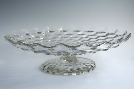 Huge Fostoria American Pedestal Flat Fruit Bowl by Kitchenish, $85.00