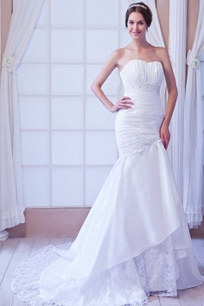 Elegant Sweetheart Trumpet-Mermaid Wedding Dress wr0121 - http://www.weddingrobe.co.uk/elegant-sweetheart-trumpet-mermaid-wedding-dress-wr0121.html - NECKLINE: Sweetheart. FABRIC: Taffeta. SLEEVE: Sleeveless. COLOR: White. SILHOUETTE: Trumpet/Mermaid. - 1