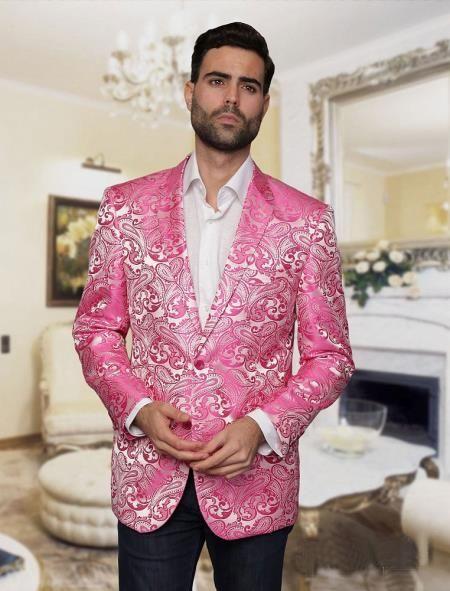 f424a2f4 SKU#GD110 Alberto Nardoni Brand Mens Big and Tall Single Breasted Pink Blazer  Sport coat Jacket Tuxedo Looking! Paisley floral PatterN