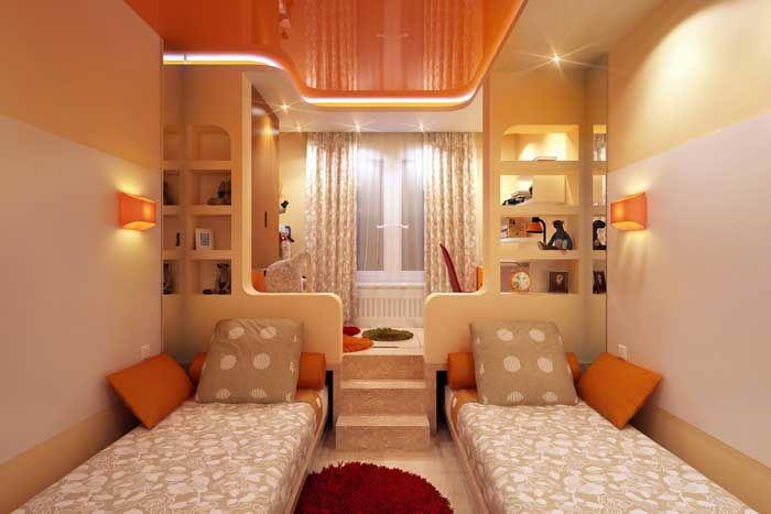 Дизайн комнаты 12 кв м для двух девочек