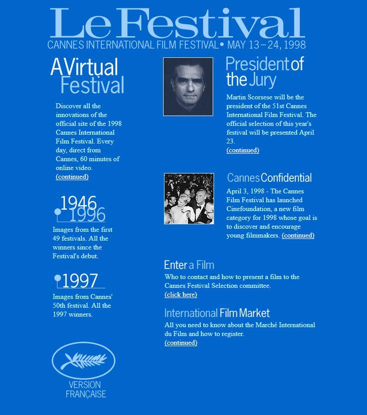 Festival de Cannes website 1998