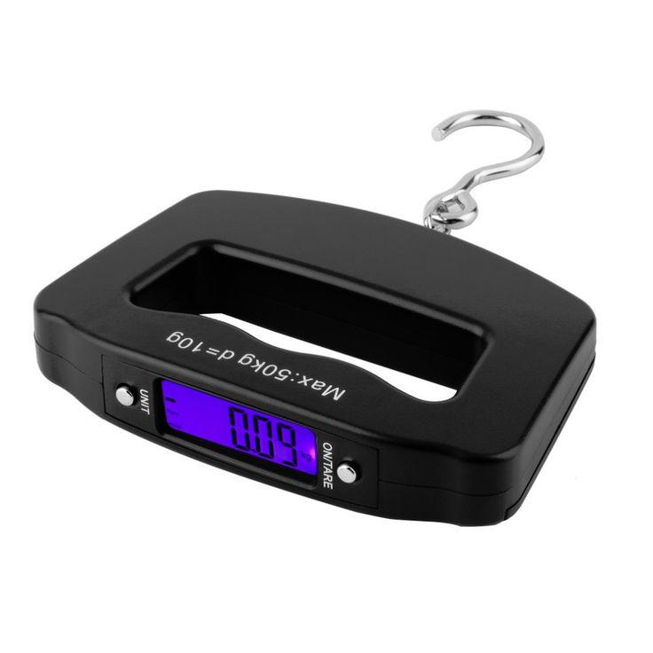 Nueva plástico ABS Negro de Bolsillo 50 kg/10g LCD Digital Colgante Pesca del Peso del Gancho Escala Electrónica Del Equipaje 120mm x 80mm x 25mm