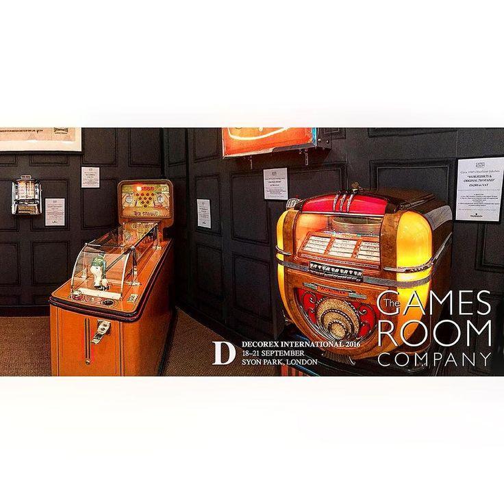 Another throwback to @decorex_international 2016. Our Evans Ten-Strike bowling machine and original 1941 Wurlitzer model 71 jukebox. #decorex2016