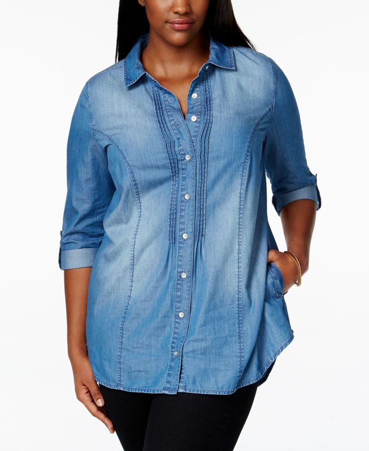 American Rag Plus Size Button-Down Denim Shirt, Only at Macy's