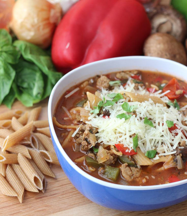 Pizza Pasta Soup from @pastafits and @memeinge. Two beloved favorites - pizza and pasta - were the inspiration for this healthy soup filled with protein and veggies. It's sure to be a crowd-pleaser!