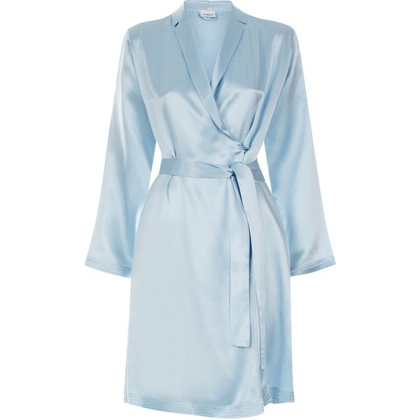 La Perla Silk Short Silk Satin Robe ($384) ❤ liked on Polyvore featuring intimates, robes, light blue, silk bathrobe, short silk robe, silk robe, short dressing gown and bath robes