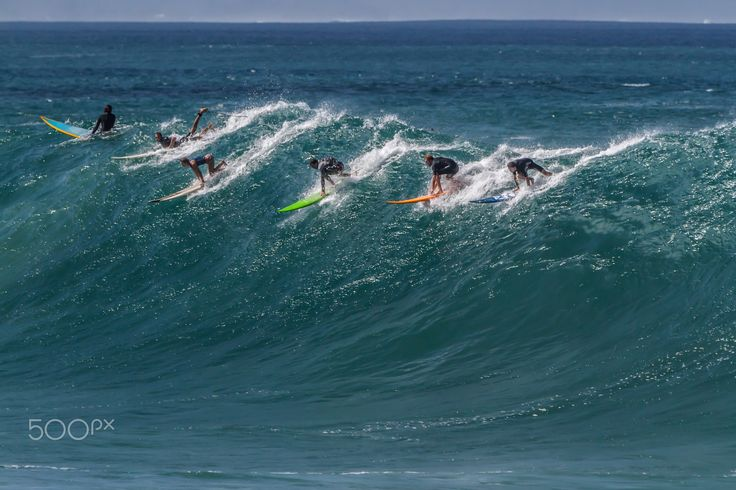 Go for it! - A big swell on the north shore of Oahu brings out the surfers, Waimea Bay