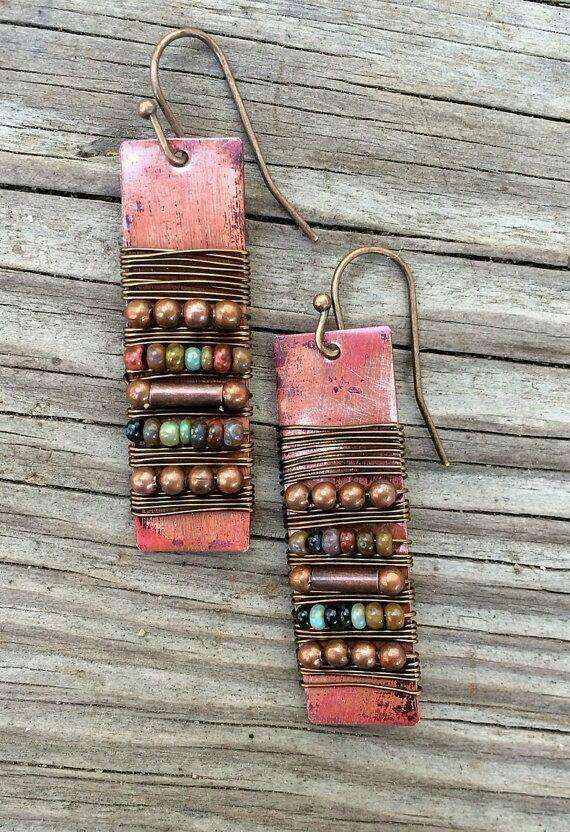 Bohemian Copper Earrings Copper Wire Wrapped Dangle By Lammergeier,