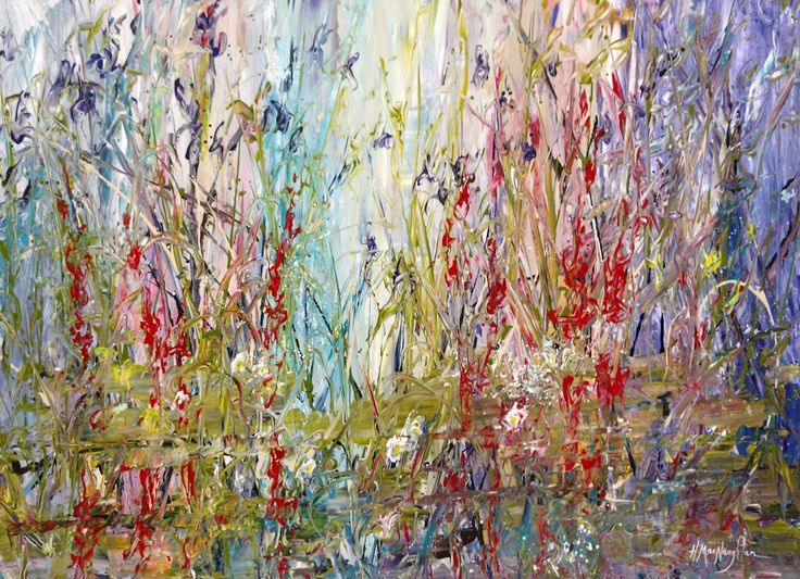 Wildflowers Along The Creek 30x40 inches is an acrylic on canvas painting by Hanna MacNaughtan, copyright 2018.