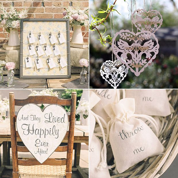 Rustic and romantic wedding decorations and signs | www.onefabday.com