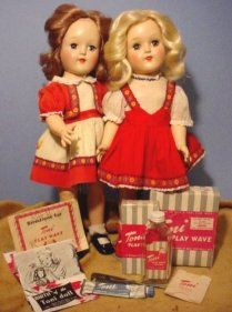 The Ideal Toni Dolls were a promotional doll, connected with the Toni cosmetic company, she was sold with her own home permanent kit.   Everything mother had to perm your hair, the Ideal Toni Dolls had the same. A permanent solution, made of sugar and water. There were also end papers and a comb, just as in the adult home permanent kits