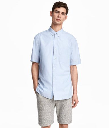 Camisa manga corta Regular fit | Azul claro | Hombre | H&M CO