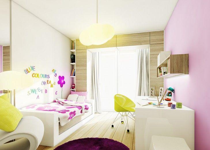Projekt wnętrza pokoju dziewczynki. Akcenty kolorystyczne w postaci żółtych i różowych dodatków ożywiają wnętrze.
