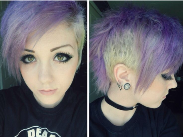Purple, Shaved Emo Haircut // Womens Hairstyles // Short