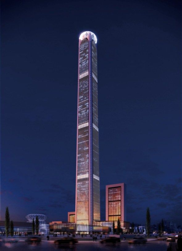 Goldin Finance 117, China Height: 597m Completion: 2015 Designed by P & T Group this 117-storey tower, located in the new Central Business District of Tianjin, will become the tallest building in the city upon completion. The upper portion will house a luxurious hotel and the lower portion will contain office space.